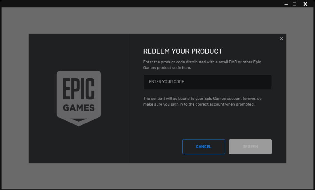 EPIC Introduza o seu código