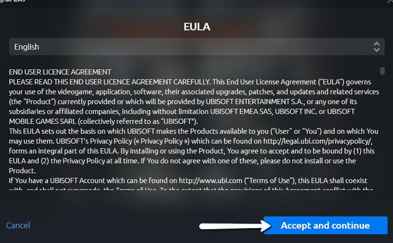 Uplay Aceitar o Acordo EULA