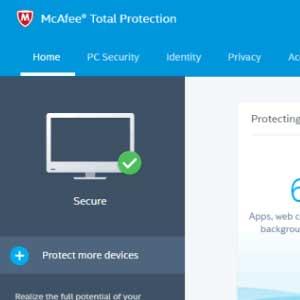 McAfee Internet Security 2019 painel de bordo