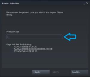 Activação do produto a Steam